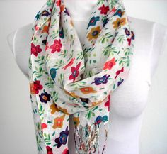 Colorful Flowered Scarf  in White Pink Green by fizzaccessory, $15.00