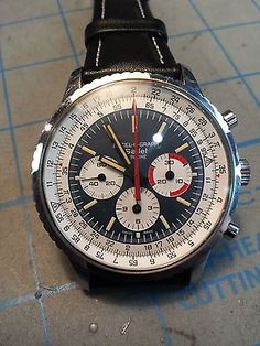 Gallet Excel o graph by Racine Gents vintage Wristwatch, chronograph, leather 1965  Extremely rare.