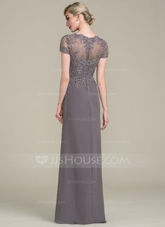 A-Line/Princess V-neck Floor-Length Beading Sequins Zipper Up Sleeves Short Sleeves No Other Colors General Plus Chiffon Lace Height:5.7ft Bust:33in Waist:24in Hips:34in US 2 / UK 6 / EU 32 Mother of the Bride Dress