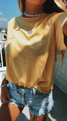 43 Top Summer Outfits — Green and Yellow Make You Cool; summer outfits 43 Top Summer Outfits — Green and Yellow Make You Cool; Teen Fashion Outfits, Casual Outfits, Summer Fashion For Teens, Fashion Ideas, Teen School Outfits, College Outfits, Cheap Fashion, Cheap Outfits, Denim Outfits