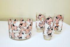 Vintage Hazel Atlas Barware, Pink Elephant Ice Bucket & Glasses, 1940s Barware