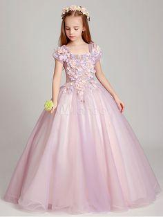 Flower Girl Dresses Soft Pink Off The Shoulder Applique Back Illusion Floor Length Kids Pageant Dresses - Milanoo.com