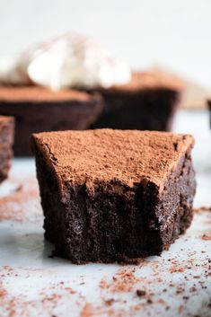 Flourless Chocolate Cake with Vanilla Cream - The Original Dish Flourless Chocolate Cakes, Chocolate Treats, Chocolate Flavors, Chocolate Recipes, Decadent Chocolate, Cake Chocolate, Muffins, Cake Toppings, Cream Recipes