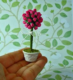 Pink Roses - Flower Tree for Dollhouse 1/12 Scale