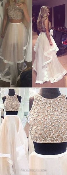 Two-pieces Prom Dresses A-line, Long Prom Dresses 2018, Scoop Neck Prom Dresses Tulle Beading