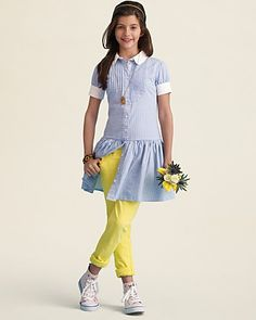 Ralph Lauren Childrenswear Girls' Gingham Shirtdress & Bowery Skinny Jeans - Sizes 7-16   Bloomingdale's