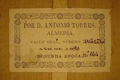 Antonio Torres Guitar Label - 1890
