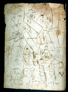 Medieval scribes tested their pens by writing short sentences and drawing doodles. The pen trials above are from Oxford, Bodleian Library, Lat. misc. c. 66 (15th century).