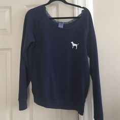 PINK Navy Sweater Off the shoulder sweater from VS PINK. Worn a few times but in great condition. PINK Victoria's Secret Sweaters Crew & Scoop Necks