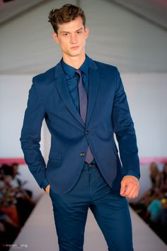 Hugo Boss suit in cool blue from the BOSS Store, Oakridge Centre Fashion Show at Luxury & Supercar Weekend - Photo: Winston Wong http://styledrama.com/2014/09/11/menswear-impresses-luxury-supercar-weekend/
