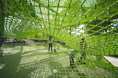 "As part of a grand project revitalizing the interior of Schwäbisch Gmünd, Germany, A24 Landschaft designed a ""Netzvilla""; a house of nets nearly 8 meters high, with an escape slide, of course.  Reminiscent of the temporary play installations of Numen, the house of nets also reminds me of the Wallholla 'wall of play' by the Netherlands' Carve, - Read the rest..."