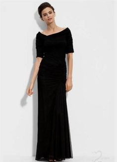 Cool simple black gowns with sleeves 2017-2018 Check more at http://newclotheshop.com/dresses-review/simple-black-gowns-with-sleeves-2017-2018/