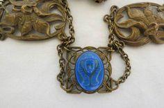 ART DECO Egyptian Revival Brass Tut Necklace NR