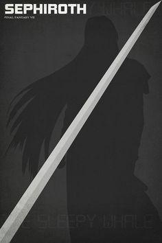 12 x 18 Final Fantasy 7 Minimalism Sephiroth by ModernBohemia, $12.95