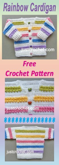 Free baby crochet pattern for rainbow cardigan. Free baby crochet pattern for rainbow cardigan. Crochet Mittens Free Pattern, Crochet Motifs, Free Crochet, Knit Crochet, Crochet Patterns, Booties Crochet, Knitting Patterns, Crochet Hats, Crochet Baby Sweaters
