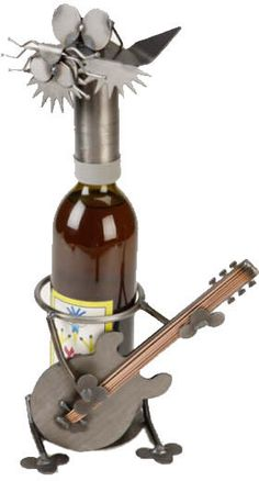 Electric Guitar Cat Wine Holder Available at AllSculptures.com