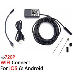 iOS & Android Wireless Mini 720P 6LED Tube Endoscope Camera Waterproof IP66 Wifi Borescope for Smartphone Tablet iPhone
