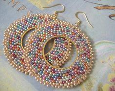 Beadwork Hoop Earrings CELEBRATION Big Bold Multicolored Earrings - BIG BLING