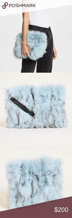 Jocelyn Fox Clutch Jocelyn Fox Clutch Rich fox fur covers this statement-making Jocelyn clutch. Leather wrist strap at the side. Top zip and lined interior.  Color: Soft Blue Fur: Dyed fox, from China. Weight: 9oz / 0.26kg.  Measurements Height: 8.25in / 21cm Length: 11in / 28cm Handle drop: 5.5in / 14cm Jocelyn Bags Clutches & Wristlets