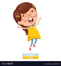 Happy kid emotion vector image on VectorStock Happy Emotions, Flashcards For Kids, Emotional Child, Hijab Cartoon, Kids Poster, 4 Kids, Happy Kids, Funny Kids, Special Education