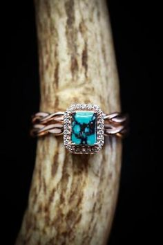 Emerald cut turquoise wedding band set with diamond halo and twisted band (available in Cute Jewelry, Jewelry Accessories, Women Accessories, Turquoise Wedding Band, Wedding Band Sets, Halo Diamond, Beautiful Rings, Jewelery, Emerald Cut