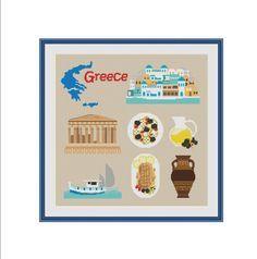 Cross stitch pattern Athens Greece Greece map by StitcheryStitch