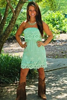 You Look So Good In Lace Dress - Mint (would be cute in brown! Or yellow! )