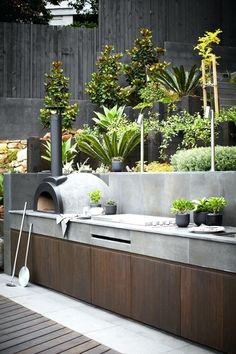 Outdoor kitchen with pizza oven. Backyard outdoor kitchen with Pizza Oven and Built in BBQ Harrison's Landscaping kitchen australian Creative Design Ideas For Your Home Outdoor Areas, Outdoor Rooms, Outdoor Kitchens, Outdoor Barbeque Area, Barbecue Area, Pizza Oven Outdoor, Outdoor Retreat, Bbq Grill, Modern Kitchens