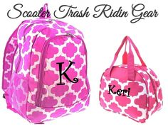 Personalized Pink White Quatrefoil Backpack Lunch Bag Book Monogram School New Unbranded