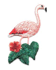 3 1//4H Flamingo Embroidered Iron On Applique Patch Tropical bird R