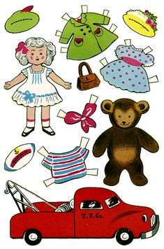 Toys Vintage Paper Dolls. Toys come to life with this doll, teddy bear and truck paper doll set. Recommending to: @Corona Holland