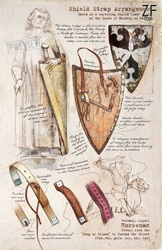 """Anatomy"" of a medieval shield Medieval Weapons, Medieval Knight, Medieval Fantasy, Armadura Medieval, Fantasy Armor, Fantasy Weapons, Medieval Shields, Templer, Landsknecht"