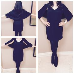 "🍾 HP 4/5 🍾 Black Mini Capelet Dress 100% Polyester. This sleeveless, v-neck dress features a bold cape that connects mid-armhole, then wraps all the way around the back for superior style. Runs small. Approx. measurements 33 1/2"" in length. Bust: 32"" Waist 25"" Hips: 33"". Sizes available in S,M,L. Jealous Tomato Dresses Mini"