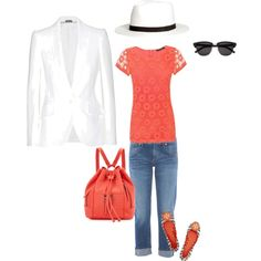 White blazer jeans casual summer