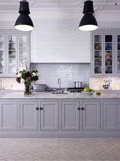 kitchen wooden benchtops and subway tiles - Google Search