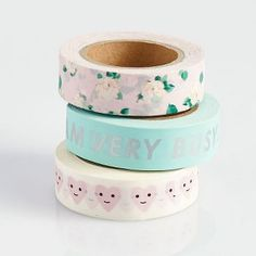 Use this Ban.do washi tape set to embellish your planners, calendars, and crafting projects! Each set of 3 tapes contains one roll of happy hearts, dreamy pink floral, and Ban.do's famous phrase, i a