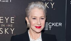 Helen Mirren rocking a red lip and slicked back 'do. #onpoint