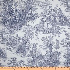 Timeless Treasures French Court 108'' Quilt Backing Toile Navy
