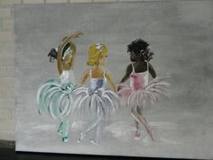 this a painting of three little ballerina's i copied from my daughters birthday i found when clearing out.