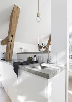 White kitchen with chunky benchtops