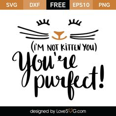 Free SVG cut file - I'm not kitten you You're Purfect Silhouette Cameo Projects, Silhouette Design, Cricut Vinyl, Cricut Fonts, Vinyl Projects, Vinyl Designs, Svg Cuts, Cricut Design, Vector Free