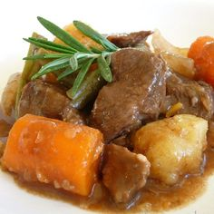 Pressure cooker beef stew. Beef chuck roast with vegetables and dry red wine cooked in pressure cooker.Quick and delicious beef stew recipe!serve it in shallow bowl on a chilly winter day.
