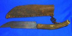 Vintage German Fixed Blade Knife with Deer Antler Handle & Leather Case #AO