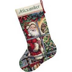 <li>Add a home-spun touch to any room with this cross stitch kit from Dimensions<li>Counted cross stitch kit displays a holiday scene with Santa and presents on 16-count dove grey Aida<li>Craft kit includes everything you need