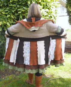 Earth Day Upcycled Sweater Coat by ThankfulRose on Etsy, $225.00