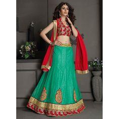 Gota Silk Green Lehenga Choli Dress Material - 67635