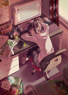 Master Anime Ecchi Picture Wallpapers Room Computer Bedroom Game Console Headhones School Indoors Pillow Scenery Sliding Doors Sunlight (http://epicwallcz.blogspot.com/) Table Window Game Console Computer School Uniform Bed Habitacion (http://masterwallcz.blogspot.com/)