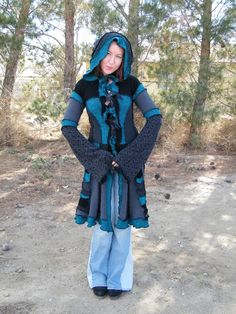 upcycled sweater coats | FOR SALE - Upcycled - Recycled - Gypsy Sweater Coat - Black and Green ...