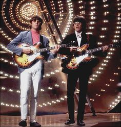 George & John in rehearsals for The Beatles LIVE Top Of The Pops appearance in June of 1966