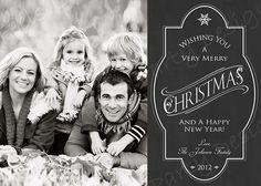 Custom Chalkboard Christmas Card with Photo. $12.00, via Etsy.